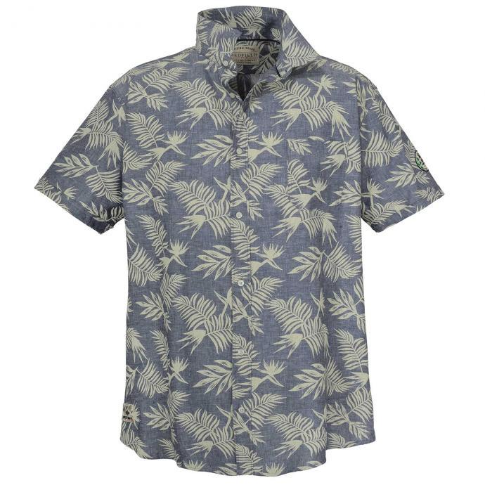 Freizeithemd aus Leinen mit floralem Print,  kurzarm dunkelblau_5470 | 3XL