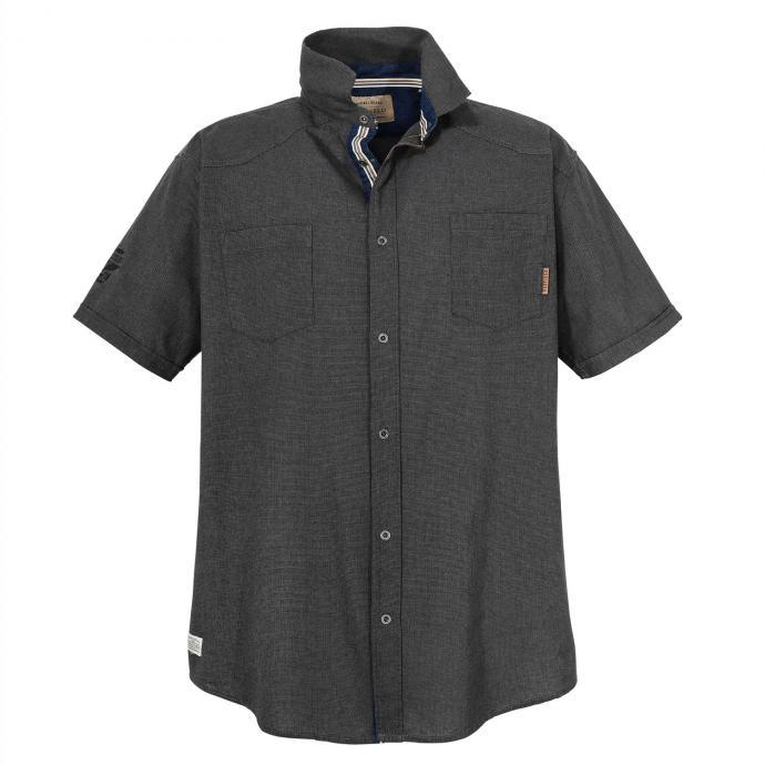 Trendstarkes Freizeithemd mit Struktur, kurzarm schwarz_15   5XL
