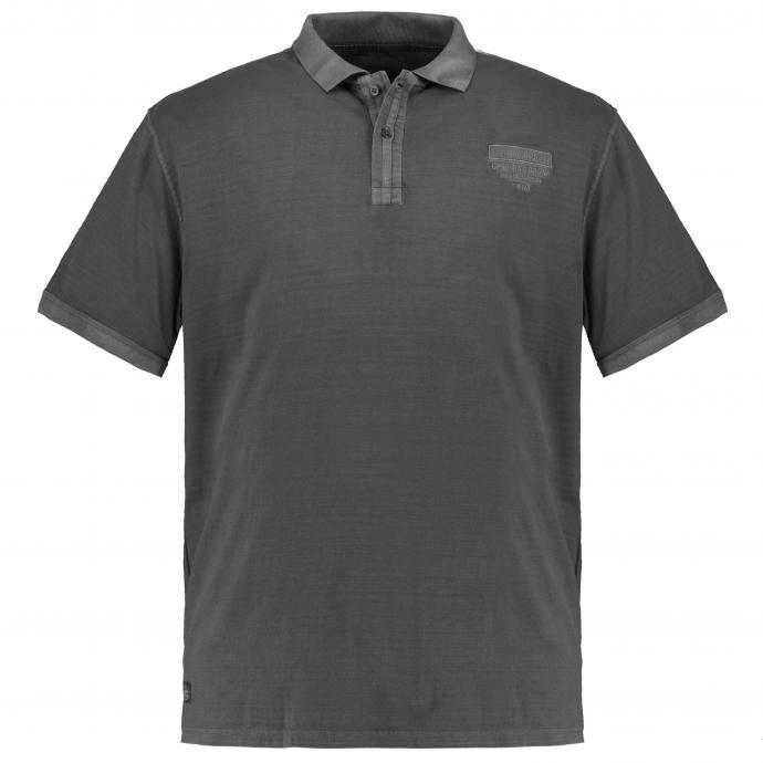 Strukturiertes Poloshirt, kurzarm schwarz_15 | 4XL
