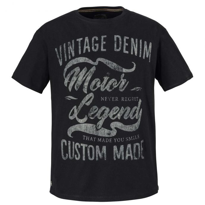 "T-Shirt ""Vintage Denim"" Frontprint schwarz_15 