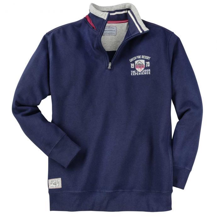 Sweatshirt mit Troyerkragen und Applikationen dunkelblau_5470 | 3XL