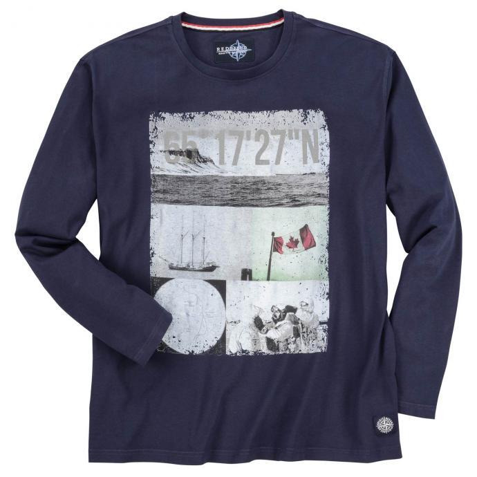 """Trendiges Langarmshirt mit sehenswertem """"Nautic""""-Frontprint dunkelblau_5470   5XL"""