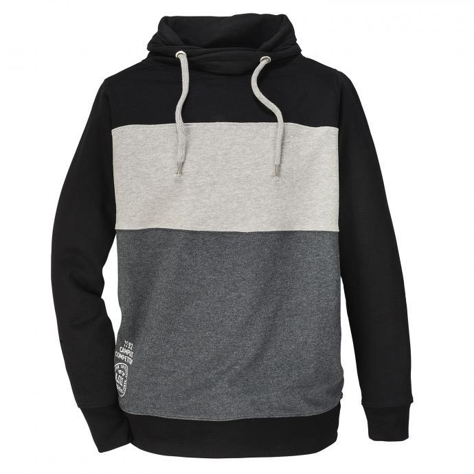 Gestreiftes Sweatshirt mit Schalkragen schwarz_15 | 3XL