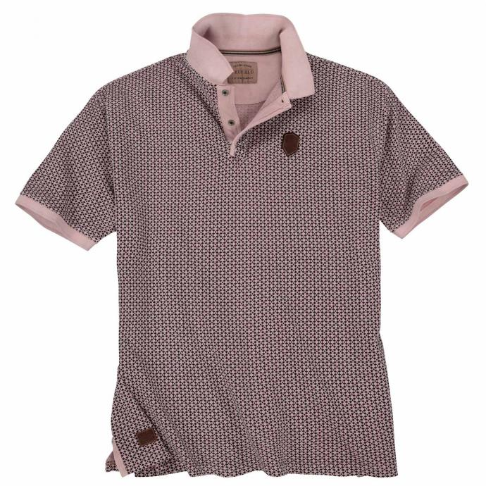 Auffälliges Poloshirt mit modischem Allover-Print, kurzarm altrosa_186 | 3XL