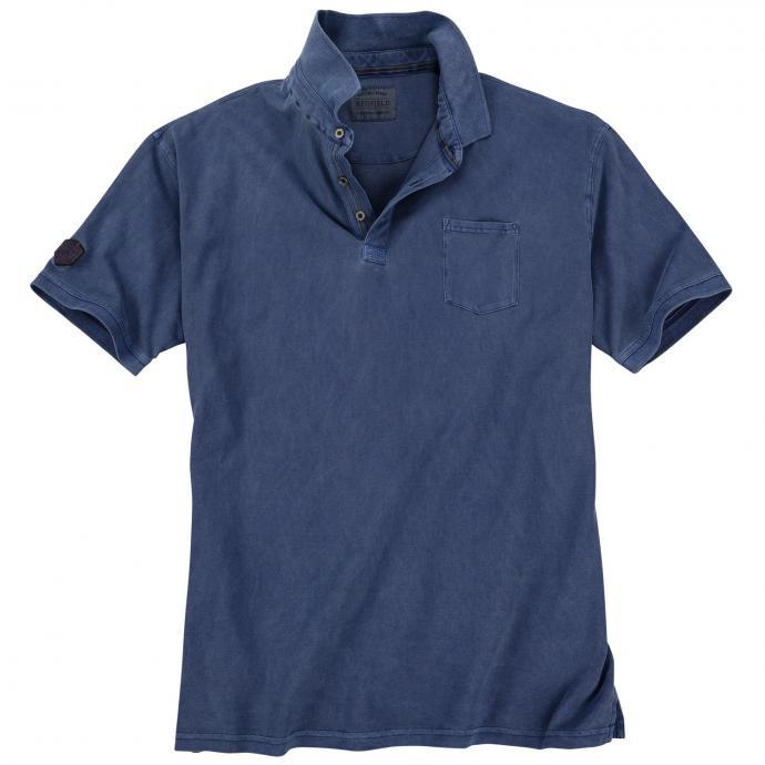 Modisch verwaschenes Poloshirt mit Brusttasche, kurzarm jeansblau_189 | 3XL