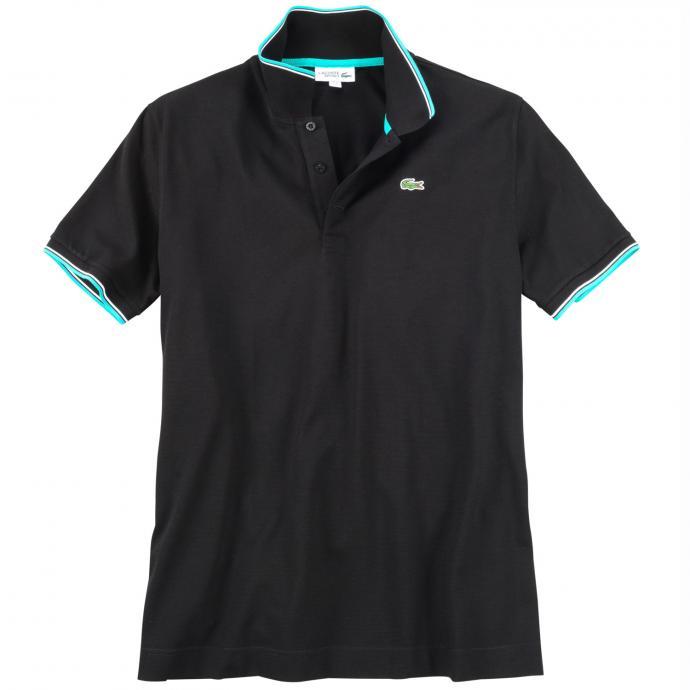 Sportliches Poloshirt mit farblichen Akzenten, kurzarm schwarz_BQ4   3XL