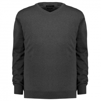 Leichter Feinstrick-Pullover mit V-Ausschnitt aus Pima Baumwolle anthrazit_782 | 6XL