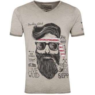 Premium T-Shirt in Flammgarn-Optik mit Print beige_0101   3XL