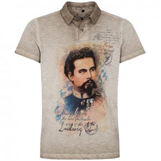 Premium Shirt mit Polokragen in Flammgarn-Optik mit Print beige_0101 | 5XL