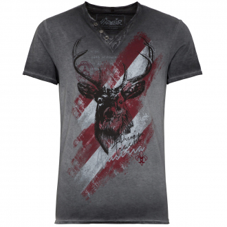 Premium T-Shirt in Flammgarn/Oil Washed-Optik mit Print grau_0201 | 4XL