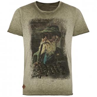 Premium T-Shirt in Oil Washed-Optik mit Print kitt_0193 | 4XL