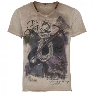 Premium T-Shirt in Flammgarn/Oil Washed-Optik mit Print und Stickerei beige_0101 | 4XL