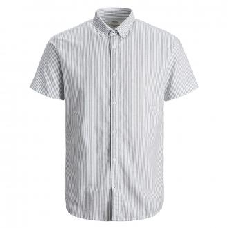 Gestreiftes Freizeithemd aus luftigem Baumwolle-Leinenmix, kurzarm grün_SEAPINE | 4XL