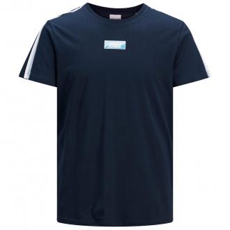 Sportliches T-Shirt mit Print und Trikotstreifen marine_NAVY   3XL