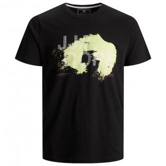 T-Shirt mit plakativem Print in Neo schwarz_BLACK   3XL