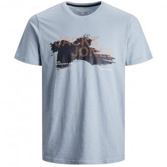 T-Shirt mit plakativem Logo-Print hellblau_DUSTY | 3XL