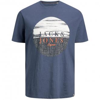 T-Shirt mit Print in Flammgarnstruktur mit Print blau_BLUE | 3XL