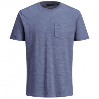 Baumwoll-T-Shirt mit Brusttasche in Flammgarn-Struktur blau_BLUE | 5XL