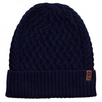 Strickmütze aus Baumwolle mit Struktur blau_BLUE   One Size