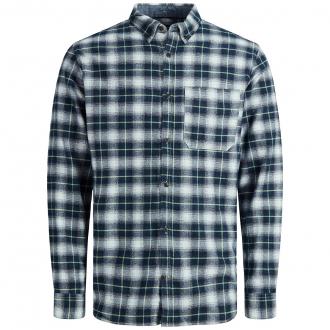 Kariertes Freizeithemd aus Baumwolltwill, langarm blau_BLUE   3XL