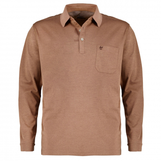 "Weiches Poloshirt ""Soft Knit & Stay Fresh"",langarm braun_231   5XL"