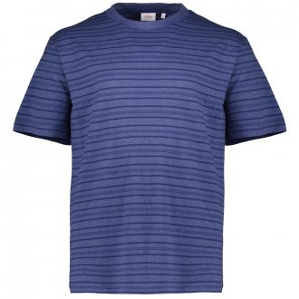 T-Shirt aus Baumwolljersey mit Streifenstruktur blau_56G1 | 3XL