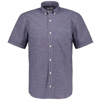 Baumwollhemd im Vichy-Karo, kurzarm blau/weiß_56N5   3XL