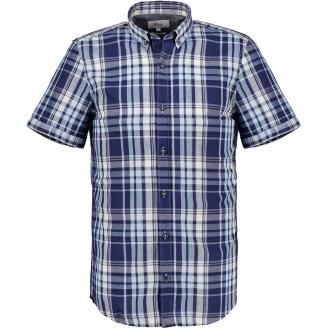 Kariertes Freizeithemd aus Baumwoll-/Hanfmix, kurzarm blau/dunkelblau_56N9   4XL