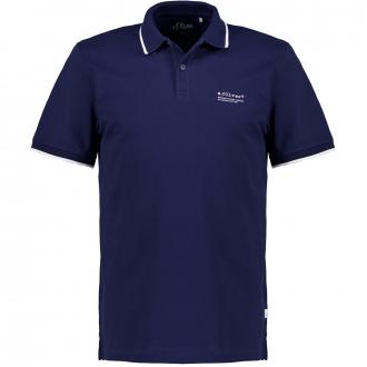 Poloshirt mit Kontrastdetails, kurzarm blau_5693 | 4XL