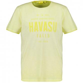 T-Shirt mit Farbverlauf und Print gelb_1170   3XL