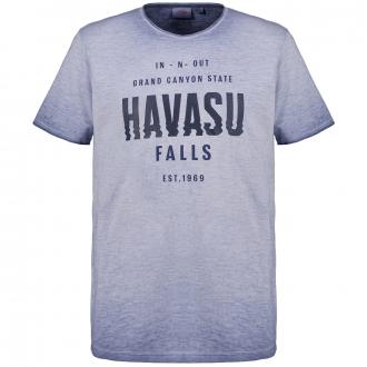 T-Shirt mit Farbverlauf und Print blau_56A1 | 3XL
