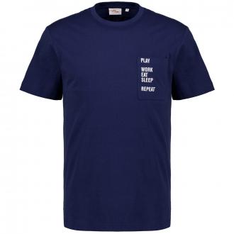 T-Shirt mit Statement-Stickerei blau_5693   3XL