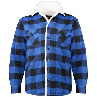 Gefütterte Hemdjacke im Holzfäller-Stil blau/schwarz_00266   3XL