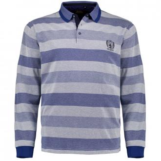 """Poloshirt mit Blockstreifen in """"Stay Fresh""""-Premium-Qualität, langarm blau/grau_609/4   4XL"""