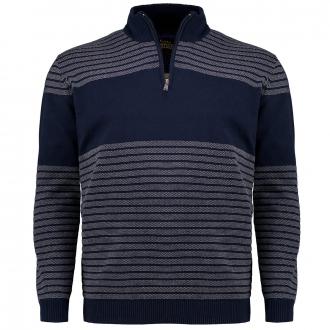 Strukturierter Feinstrick-Troyer aus Baumwolle mit Zip dunkelblau_609   3XL