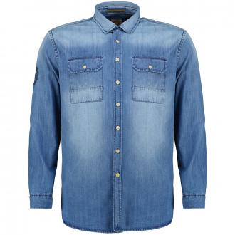 Leichtes Jeanshemd Indigo gefärbt, langarm blau_46 | 3XL
