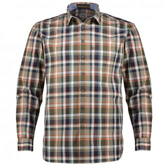 Kariertes Freizeithemd aus Baumwolle blau/orange_94/4055 | XXL