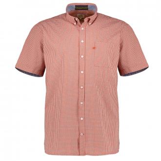 Fein kariertes Freizeithemd aus Baumwolle, kurzarm orange_58/55   XXL