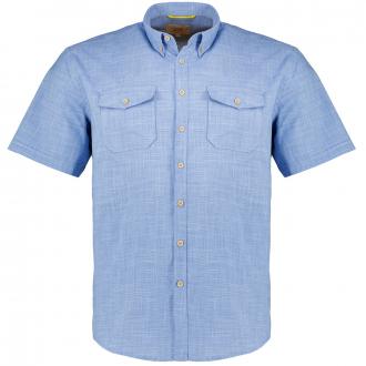 Strukturiertes Freizeithemd mit aufgesetzten Brusttaschen blau_46   XXL
