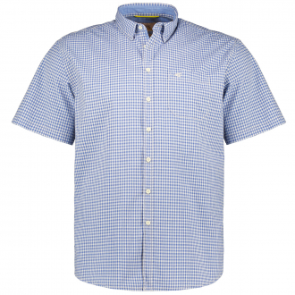 Kariertes Baumwollhemd, kurzarm blau/weiß_46/4020 | XXL