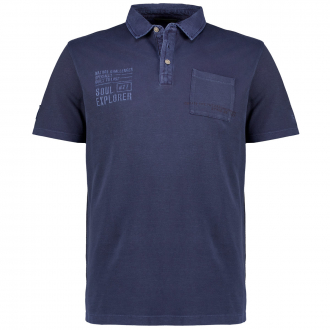 Poloshirt mit Denimkragen, kurzarm dunkelblau_49   3XL