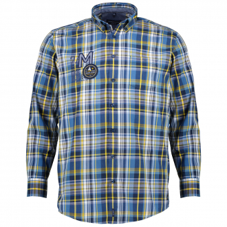 Kariertes Freizeithemd aus Baumwolle, langarm blau/gelb_101/4070 | XXL