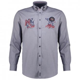 Freizeithemd aus Baumwolle mit Micro-Hahnentrittmuster, langarm blau_100   XXL