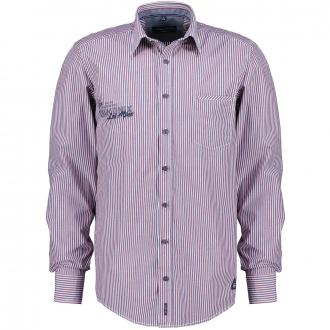 Baumwollhemd gestreift, langarm blau/rot_400/4050 | XXL