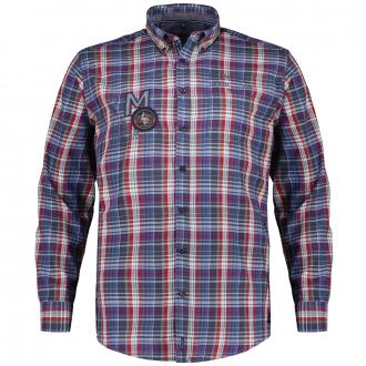 Kariertes Freizeithemd aus Baumwoll-Twill, langarm blau_100 | XXL