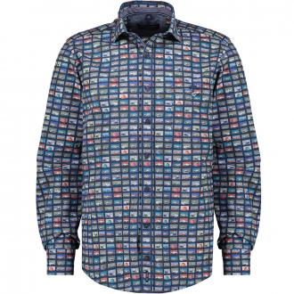 Baumwollhemd mit Alloverprint, langarm blau_100 | XXL