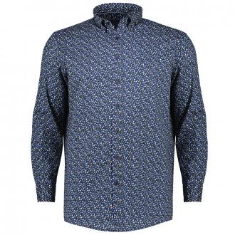 Freizeithemd mit floralem All Over-Print blau_100 | XXL