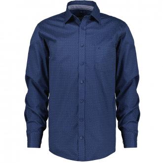 Baumwollhemd mit Alloverprint, langarm blau/weiß_100/4020 | XXL