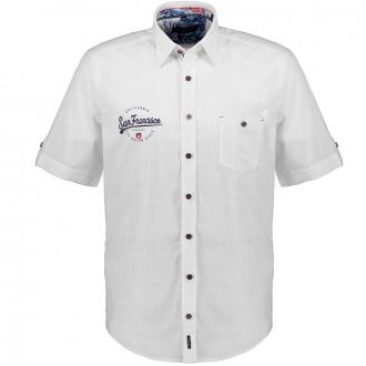 Leichtes Freizeithemd mit Kontrastdetails, kurzarm weiß/weiß_000   XXL