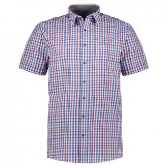 Kariertes Freizeithemd in Seersucker-Qualität, kurzarm blau/rot_100/4050 | XXL